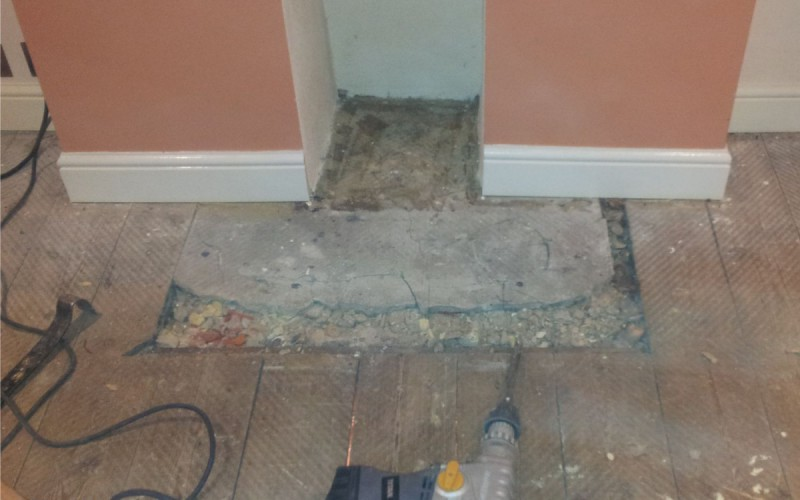 Fireplace Hearth Repair - Before
